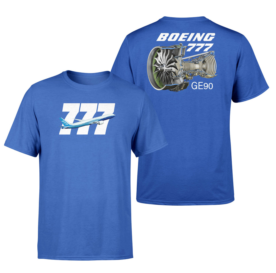 Boeing 777 & GE90 Engine Designed Double-Side T-Shirts
