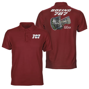 Boeing 787 & GENX Engine Designed Double Side Polo T-Shirts