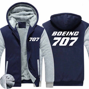 Boeing 707 Text Designed Zipped Sweatshirts