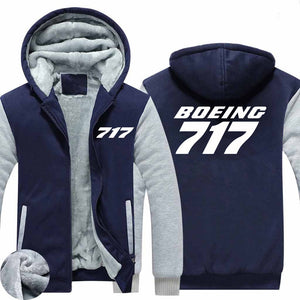 Boeing 717 Text Designed Zipped Sweatshirts