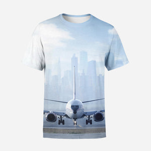 Boeing 737 & City View Behind Printed 3D T-Shirts