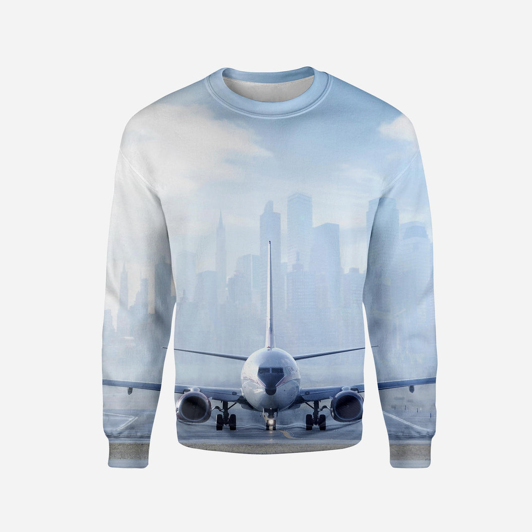 Boeing 737 & City View Behind Printed 3D Sweatshirts
