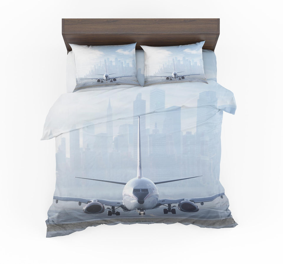 Boeing 737 & City View Behind Designed Bedding Sets
