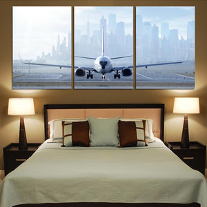 Boeing 737 & City View Behind Printed Canvas Posters (3 Pieces)