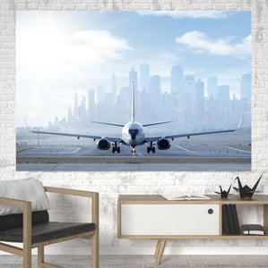 Boeing 737 & City View Behind Printed Canvas Posters (1 Piece)