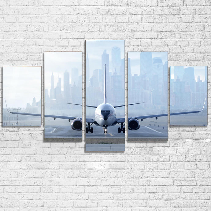 Boeing 737 & City View Behind Printed Multiple Canvas Poster