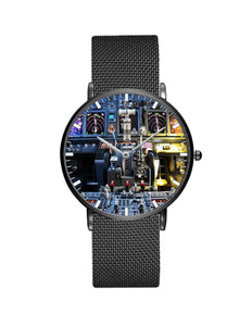Boeing 737 Cockpit Designed Stainless Steel Strap Watches Pilot Eyes Store Black & Stainless Steel Strap