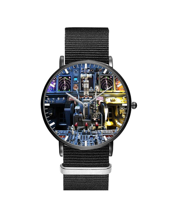 Boeing 737 Cockpit Leather Strap Watches Pilot Eyes Store Silver & Black Nylon Strap