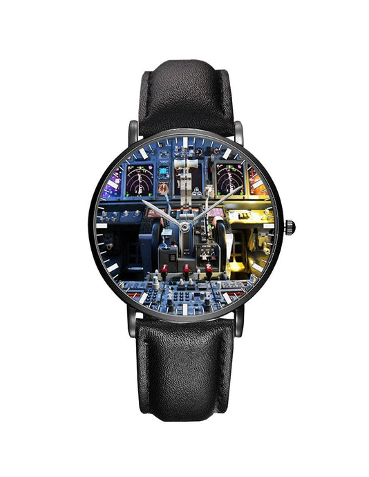 Boeing 737 Cockpit Leather Strap Watches Pilot Eyes Store Black & Black Leather Strap