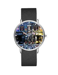Boeing 737 Cockpit Designed Stainless Steel Strap Watches Pilot Eyes Store Silver & Black Stainless Steel Strap
