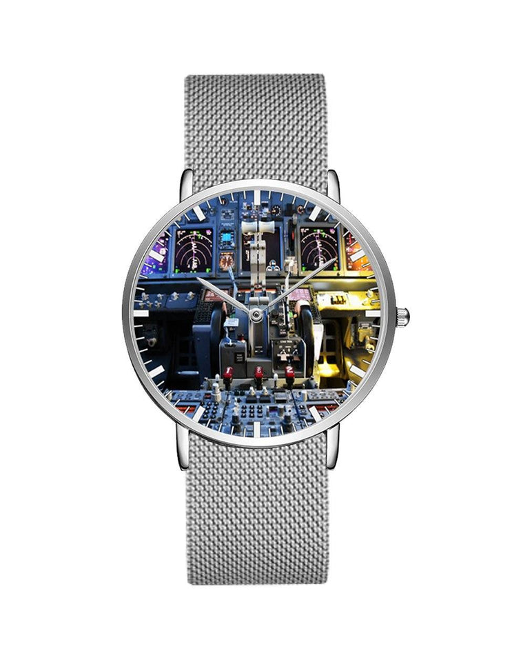 Boeing 737 Cockpit Designed Stainless Steel Strap Watches Pilot Eyes Store Silver & Silver Stainless Steel Strap