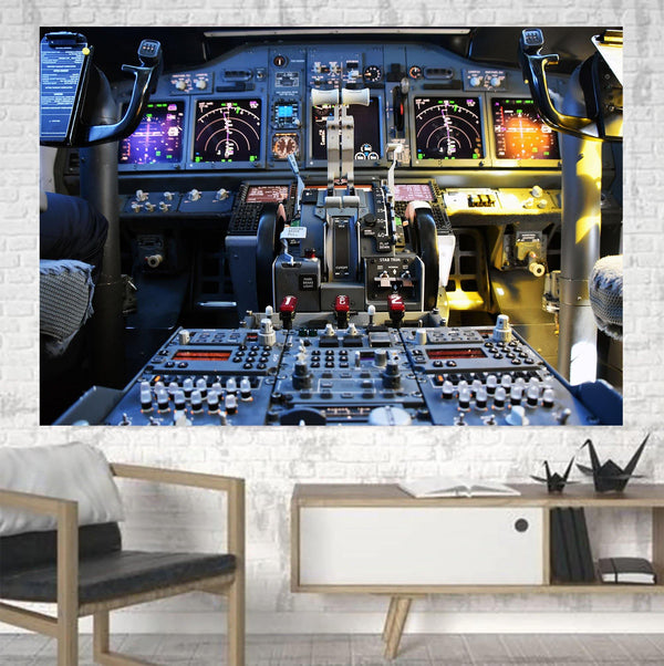 Boeing 737 Cockpit Printed Canvas Posters (1 Piece) Aviation Shop