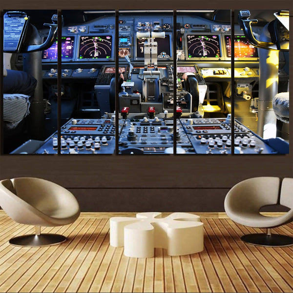 Boeing 737 Cockpit Printed Canvas Prints (5 Pieces) Aviation Shop