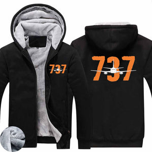Boeing 737 Designed Designed Zipped Sweatshirts