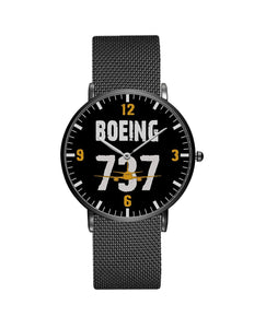Boeing 737 Designed Stainless Steel Strap Watches Pilot Eyes Store Black & Stainless Steel Strap