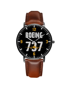 Boeing 737 Designed Leather Strap Watches Pilot Eyes Store Black & Brown Leather Strap