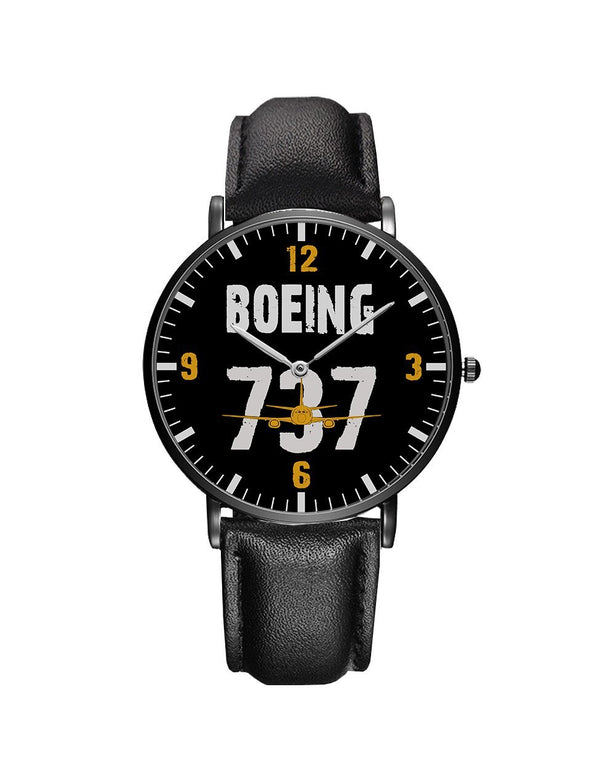 Boeing 737 Designed Leather Strap Watches Pilot Eyes Store Silver & Black Nylon Strap