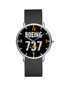 Boeing 737 Designed Stainless Steel Strap Watches Pilot Eyes Store Silver & Silver Stainless Steel Strap