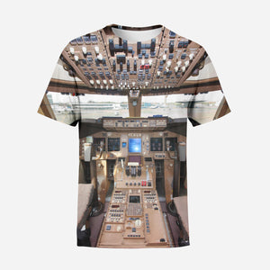 Boeing 747 Cockpit Printed 3D T-Shirts
