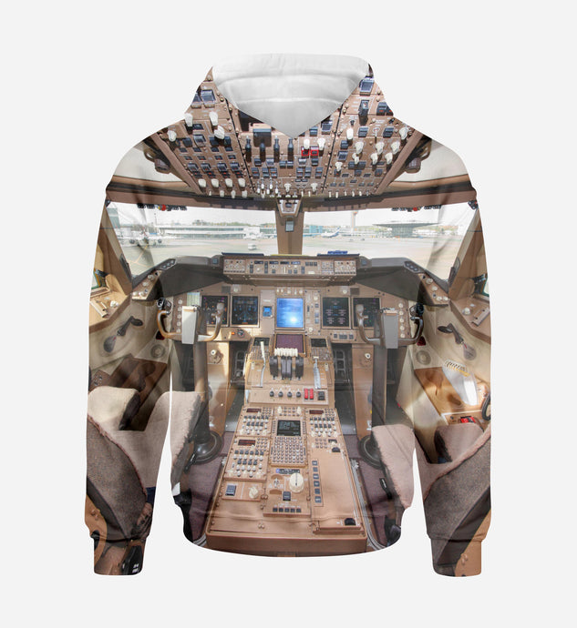 Boeing 747 Cockpit Printed 3D Hoodies