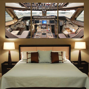 Boeing 747 Cockpit Printed Canvas Posters (3 Pieces) Aviation Shop