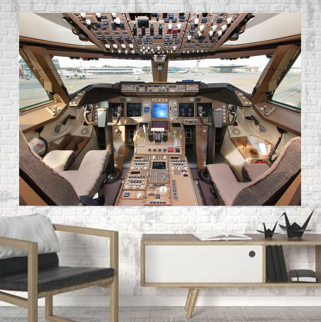 Boeing 747 Cockpit Printed Canvas Posters (1 Piece) Aviation Shop