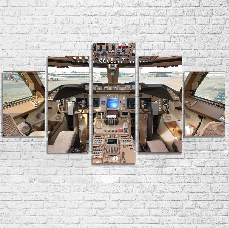 Boeing 747 Cockpit Printed Multiple Canvas Poster Aviation Shop