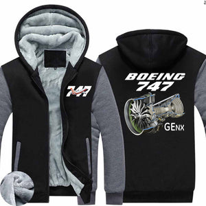 Boeing 747 & GENX Engine Designed Zipped Sweatshirts