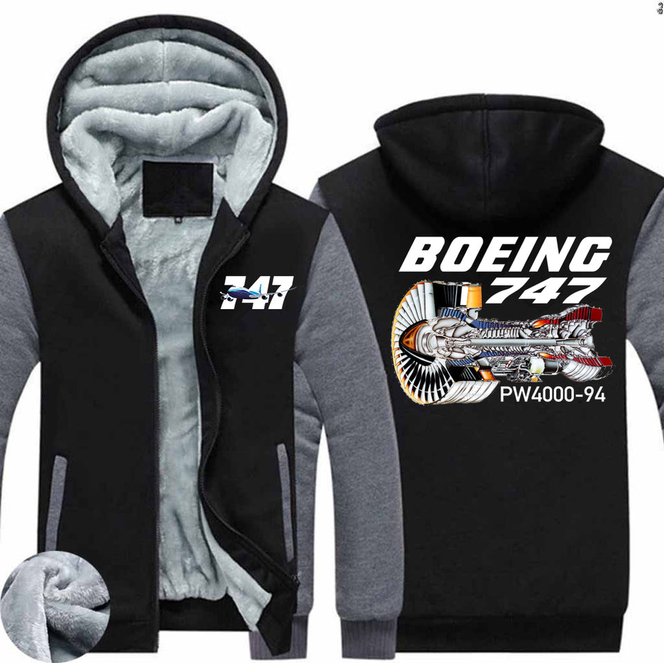 Boeing 747 & PW4000-94 Engine Designed Zipped Sweatshirts