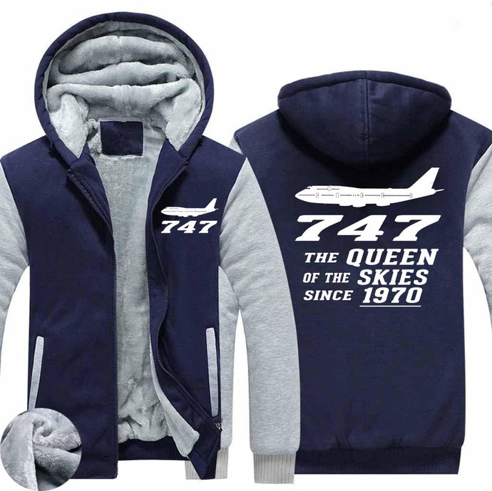 Boeing 747 Queen of The Skies (2) Designed Zipped Sweatshirts