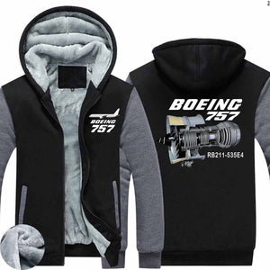Boeing 757 & Rolls Royce Engine (RB211) Designed Zipped Sweatshirts