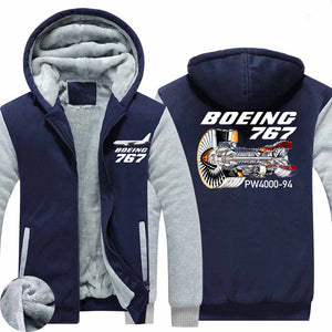 Boeing 767 Engine (PW4000-94) Designed Zipped Sweatshirts