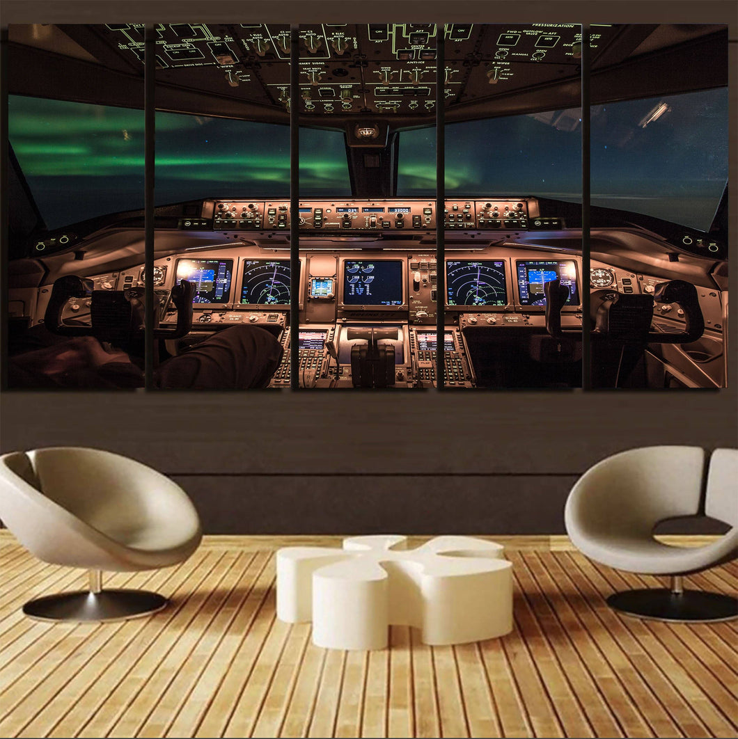 Boeing 777 Cockpit PrintedCanvas Prints (5 Pieces) Aviation Shop