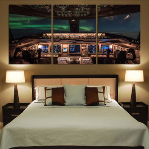 Boeing 777 Cockpit Printed Canvas Posters (3 Pieces) Aviation Shop