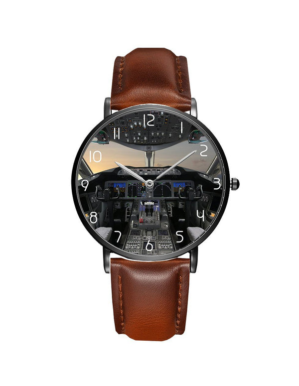 Boeing 787 Cockpit Leather Strap Watches Pilot Eyes Store Silver & Black Nylon Strap