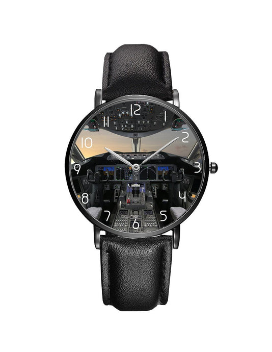 Boeing 787 Cockpit Leather Strap Watches Pilot Eyes Store Black & Black Leather Strap
