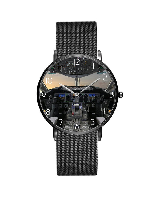 Boeing 787 Cocpit Designed Stainless Steel Strap Watches Pilot Eyes Store Black & Stainless Steel Strap