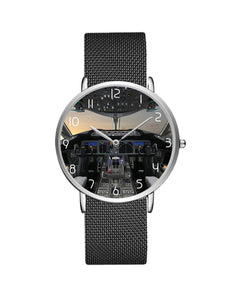 Boeing 787 Cocpit Designed Stainless Steel Strap Watches Pilot Eyes Store Silver & Black Stainless Steel Strap