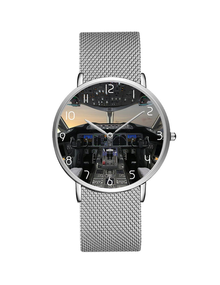 Boeing 787 Cocpit Designed Stainless Steel Strap Watches Pilot Eyes Store Silver & Silver Stainless Steel Strap