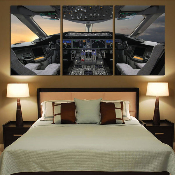 Boeing 787 Cockpit Printed Canvas Posters (3 Pieces) Aviation Shop