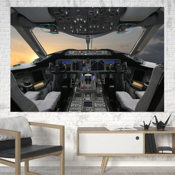 Boeing 787 Cockpit Printed Canvas Posters (1 Piece) Aviation Shop