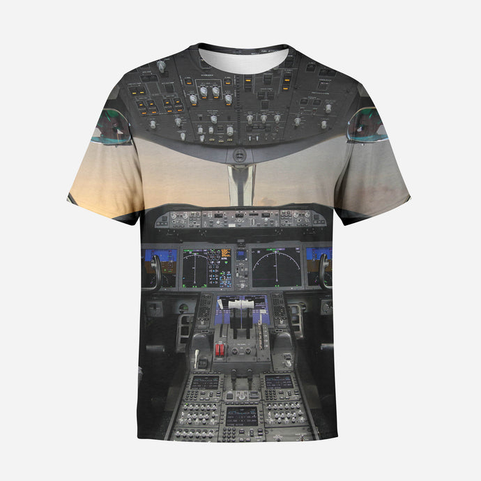 Boeing 787 Cockpit Printed 3D T-Shirts