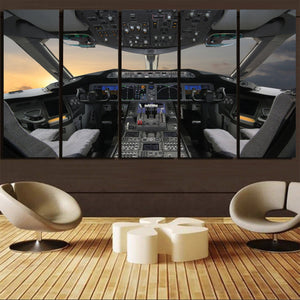 Boeing 787 Cockpit Printed Canvas Prints (5 Pieces) Aviation Shop