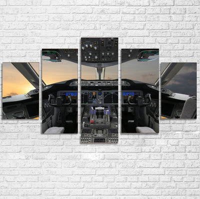 Boeing 787 Cockpit Printed Multiple Canvas Poster