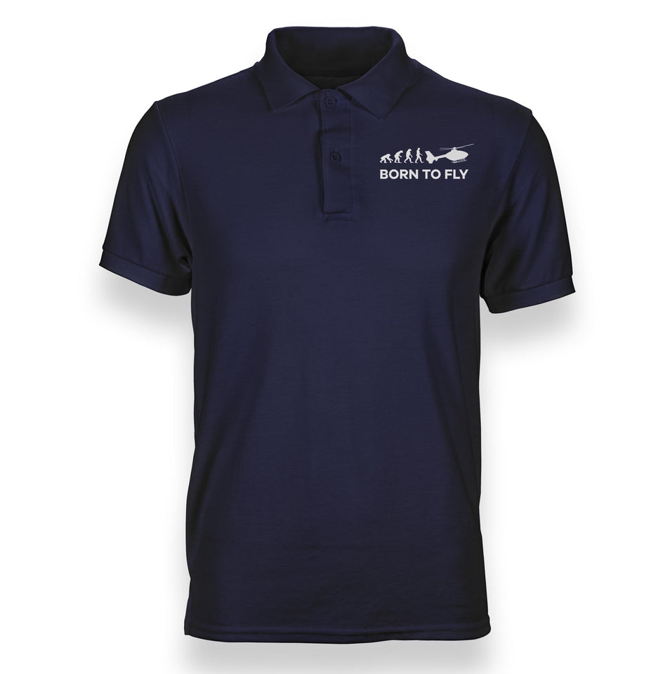 Born To Fly Helicopter Designed Polo T-Shirts