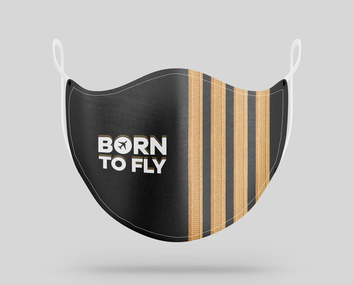Born to Fly & Pilot Epaulettes (4,3,2 Lines) Designed Face Masks