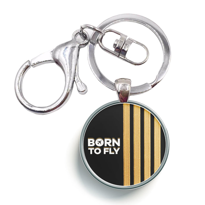 Born to Fly & Pilot Epaulettes Designed Circle Key Chains