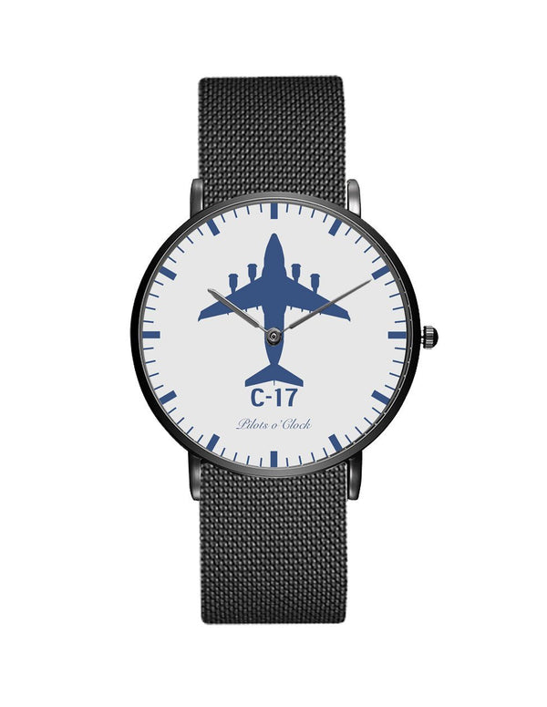 Boeing GlobeMaster C-17 Stainless Steel Strap Watches Pilot Eyes Store Black & Stainless Steel Strap