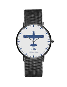 Cessna 172 Stainless Steel Strap Watches Pilot Eyes Store Black & Stainless Steel Strap