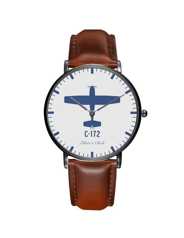 Cessna 172 Leather Strap Watches Pilot Eyes Store Black & Brown Leather Strap